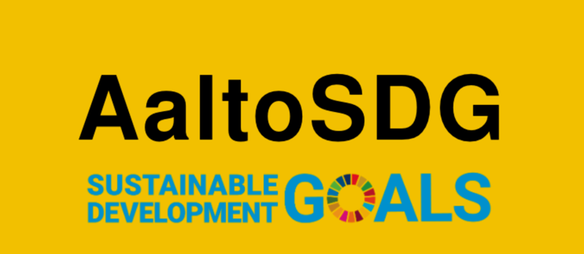 AaltoSDG logo text on yellow background