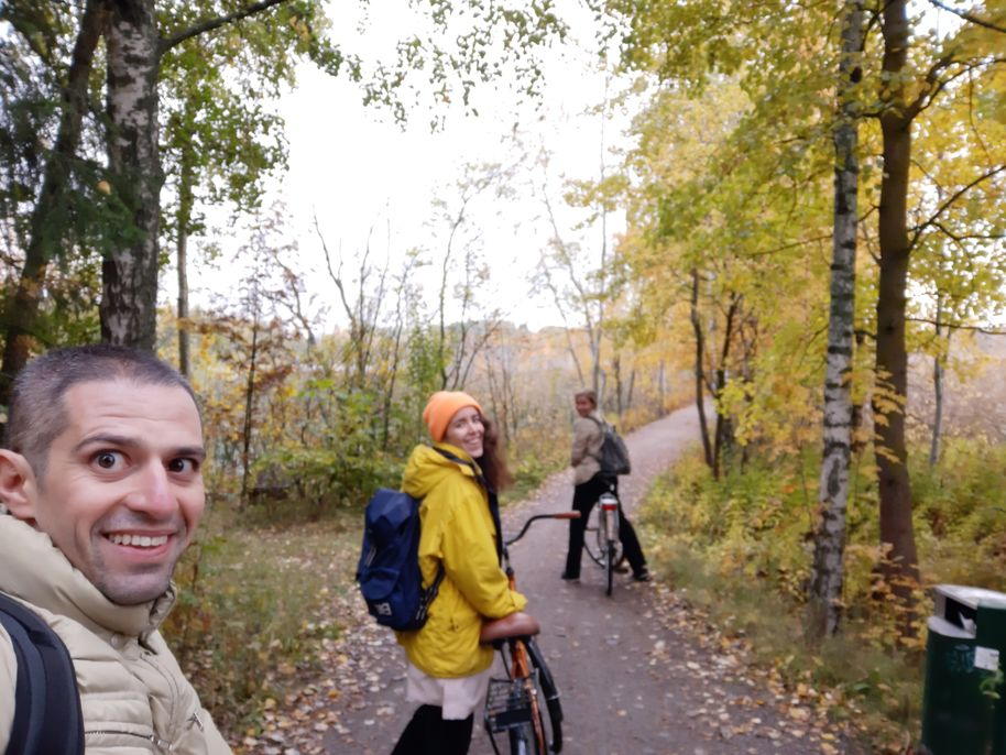 Bike touring on the Otaniemi campus in autumn