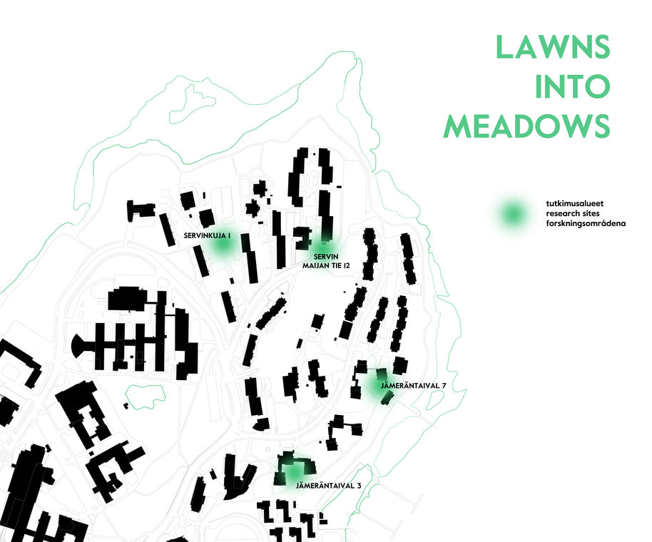 A map of Otaniemi where the four Lawns into Meadows research sites are highlighted